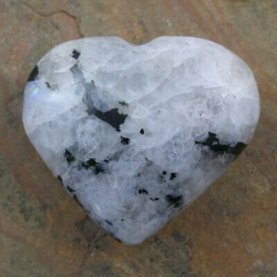 Carved Rainbow Moonstone Heart