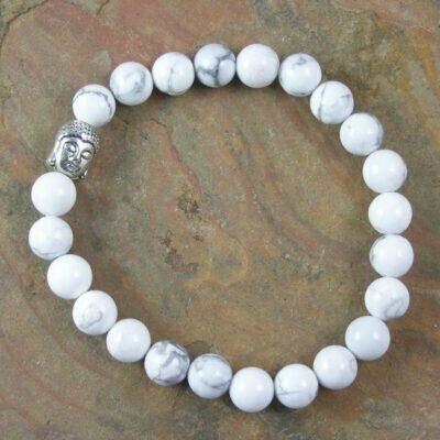 White howlite Buddah Bracelet