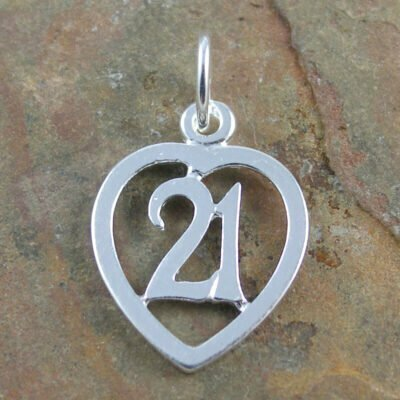 Sterling Silver 21 In Heart Charm