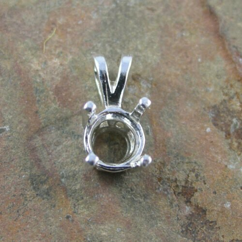 Sterling Silver 6mm Notched Pendant Setting