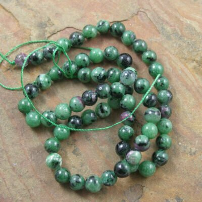6mm Ruby Zoisite Beads