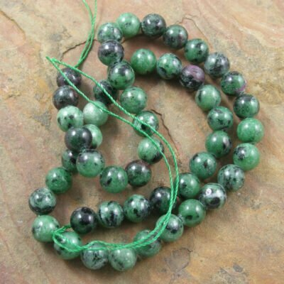 8mm Ruby Zoisite Beads