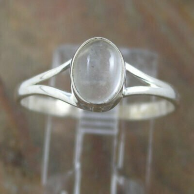 Sterling Silver Oval Clear Quartz Ring