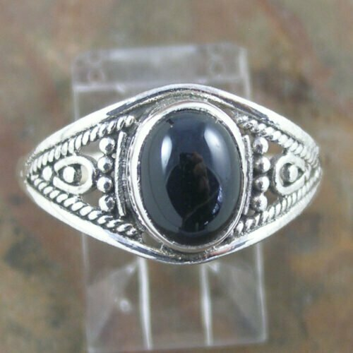Sterling Silver Oval Black Onyx Ring