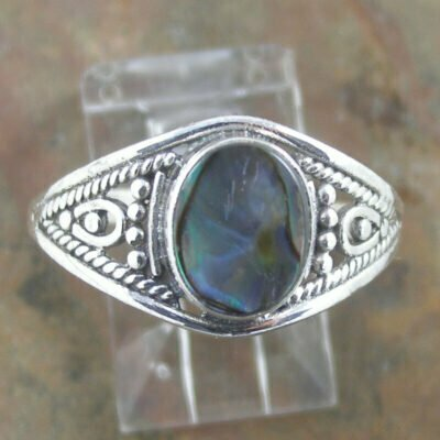 Sterling Silver Oval Paua Shell Ring