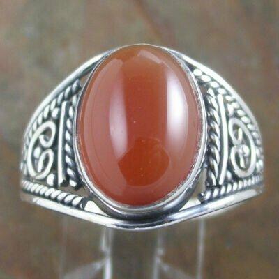 Sterling Silver Oval Carnelian Ring