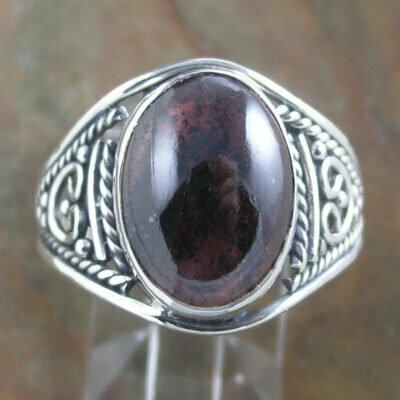 Sterling Silver Oval Garnet Ring