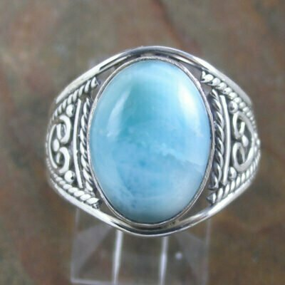 Sterling Silver Oval Larimar Ring