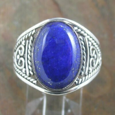Sterling Silver Oval Lapis Ring