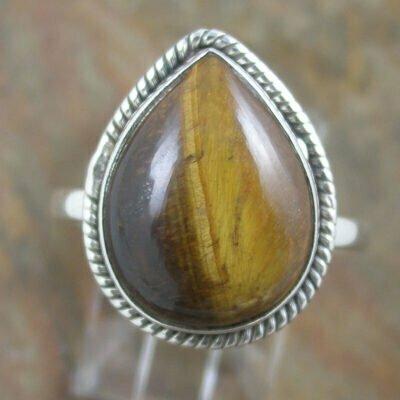 Sterling Silver Teardrop Tiger Eye Ring