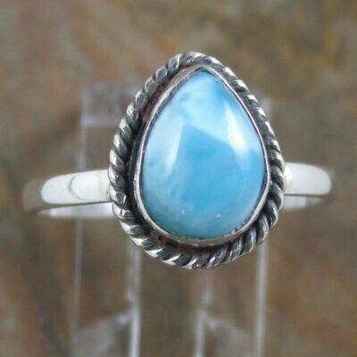 Sterling Silver Teardrop Larimar Ring