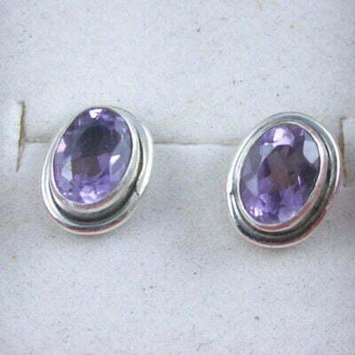 Sterling Silver Oval Amethyst Earrings