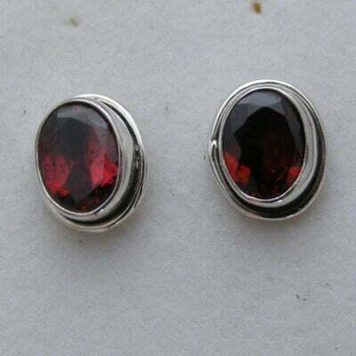 Sterling Silver Oval Garnet Earrings