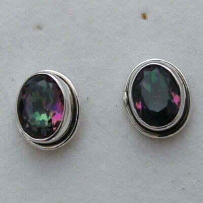 Sterling Silver Oval Mystic Topaz Earrings