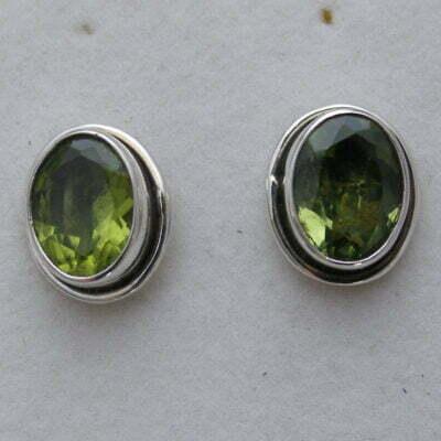 Sterling Silver Oval Peridot Earrings