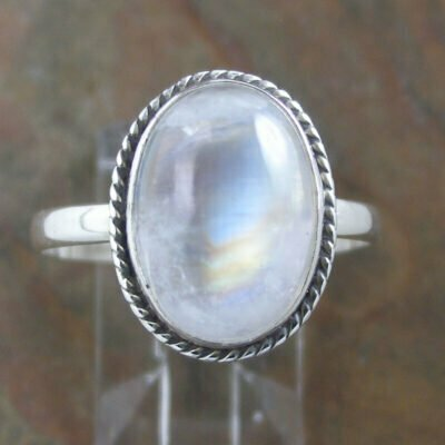Sterling Silver Oval Rainbow Moonstone Ring
