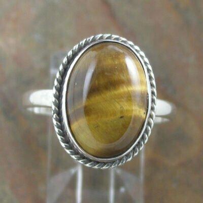 Sterling Silver Oval Tiger Eye Ring