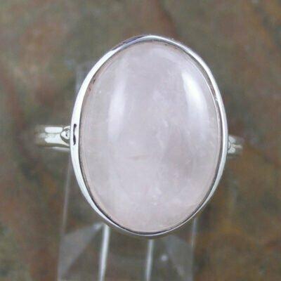 Sterling Silver Oval Rose Quartz Ring