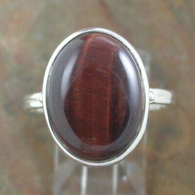 Sterling Silver Oval Red Tiger Eye Ring
