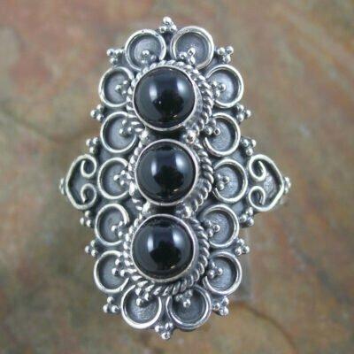 Sterling Silver Triple Black Onyx Shield Ring