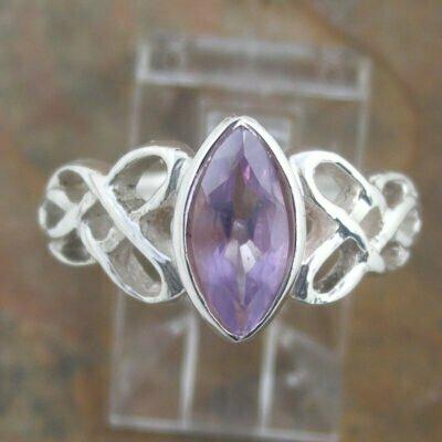 Sterling Silver Amethyst Celtic Ring