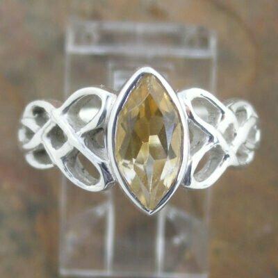 Sterling Silver Citrine Celtic Ring