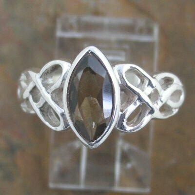 Sterling Silver Smokey Quartz Celtic Ring