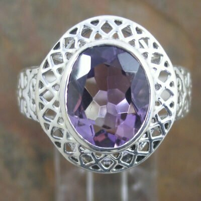 Sterling Silver Fancy Amethyst Ring
