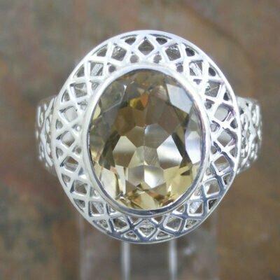 Sterling Silver Fancy Citrine Ring