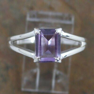 Sterling Silver Rectangular Amethyst Ring