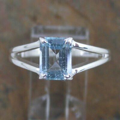 Sterling Silver Rectangular Blue Topaz Ring
