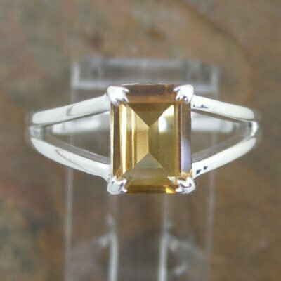Sterling Silver Rectangular Citrine Ring