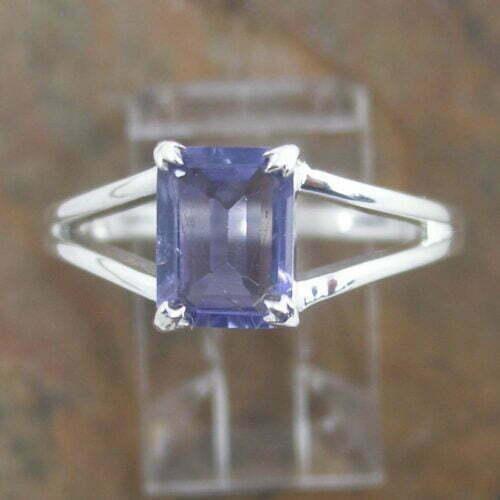 Sterling Silver Rectangular Iolite Ring
