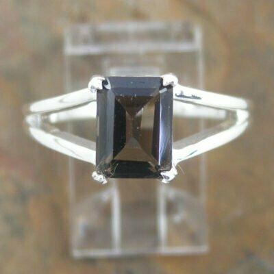Sterling Silver Rectangular Smokey Quartz Ring
