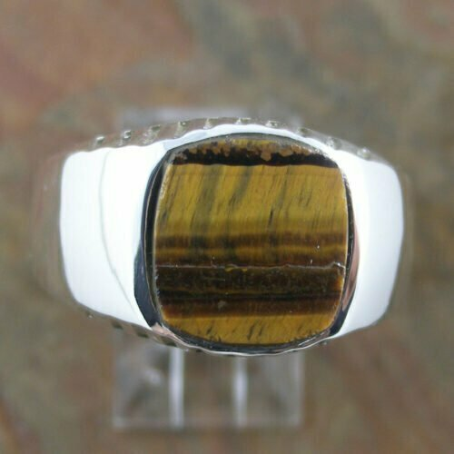 Sterling Silver Tiger Eye Gents Ring