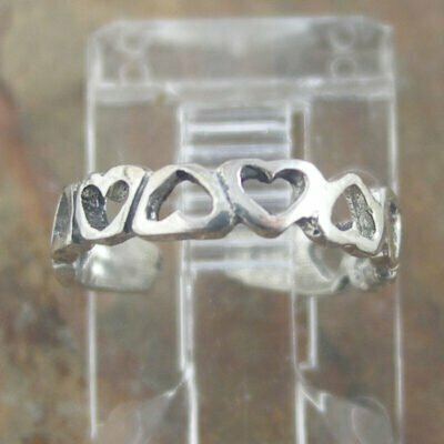 Sterling Silver Toe Ring - Hearts.