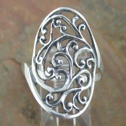 Sterling Silver Ring - Filigree Shield