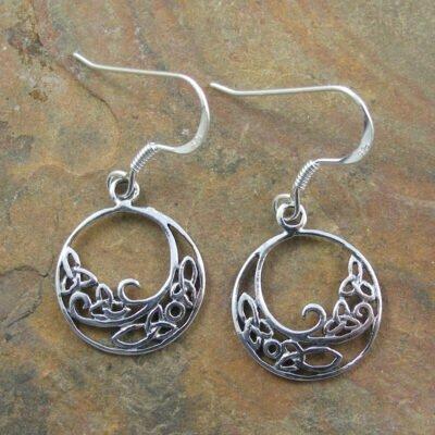 Sterling Silver Celtic Hoop Drop Earrings
