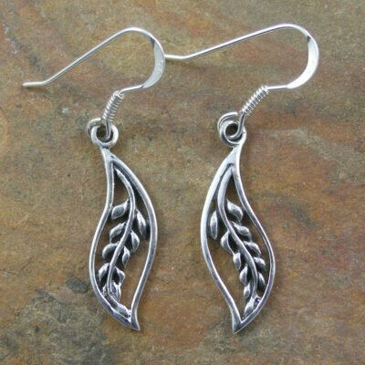 Sterling Silver Leaf Drop Earrings
