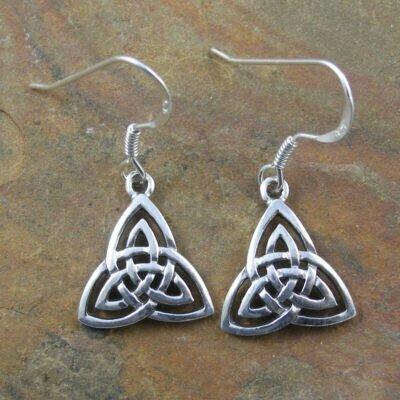 Sterling Silver Triquetra Drop Earrings