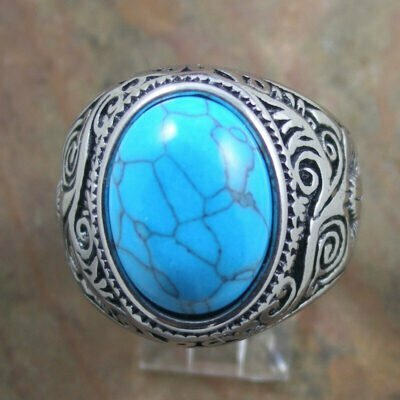 Stainless Steel Patterned Ring With Blue Stone