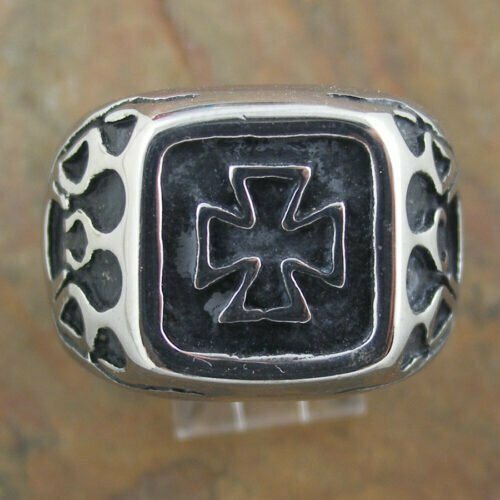 Stainless Steel Flaming Cross Ring