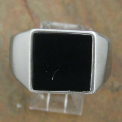 Stainless Steel Square Black Stone Ring