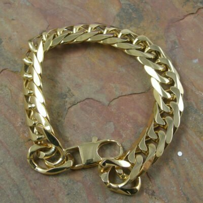 Stainless Steel Heavy Diamond Cut Curb Bracelet 22cm IP Gold Plated