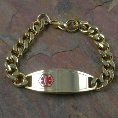 Stainless Steel Heavy Medi Alert Bracelet 22cm IP Gold Plated