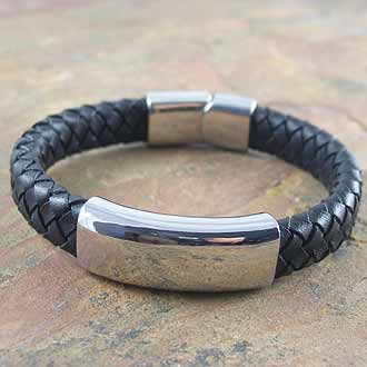 Woven Leather Bracelet With Stainless Steel Clasp