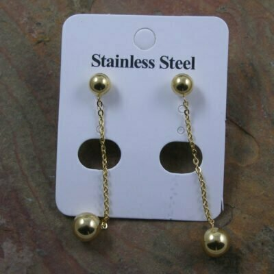 Stainless Steel Ball Chain Drop Earring Ip Gold Plated