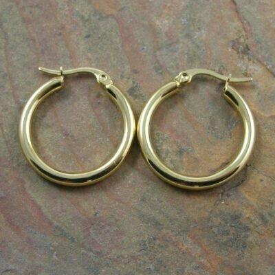 Stainless Steel 25mm Hoop Earring IP Gold Plated