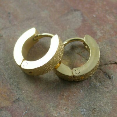 Stainless Steel Sand Blasted Huggies IP Gold Plated