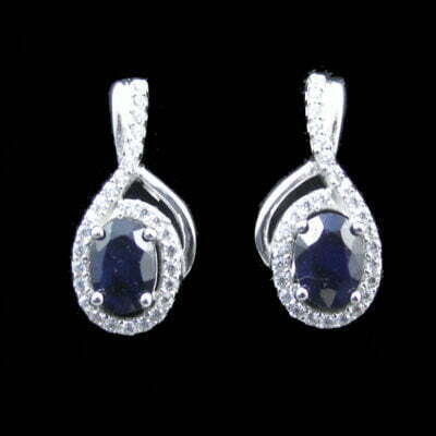 Sterling Silver Sapphire And CZ Earrings